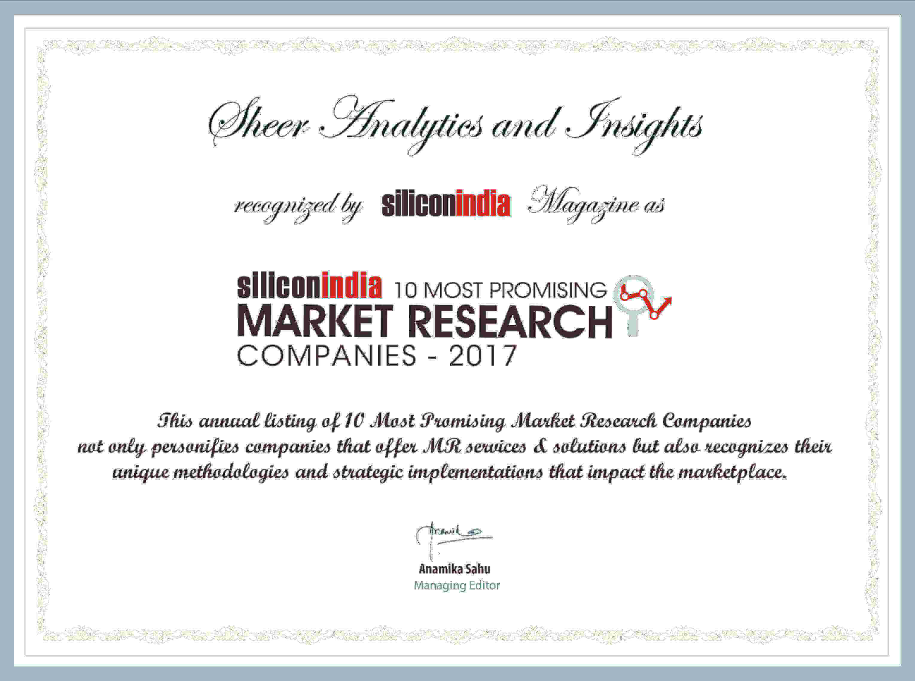 Sheer Analytics and Insights Silicon's Certificate
